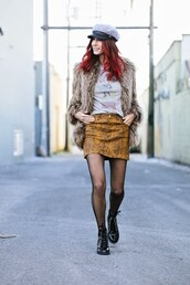 to bruck ave,blogger,skirt,top,jacket,t-shirt,hat,tights,winter outfits,faux fur jacket,boots