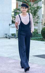 jumpsuit,pants,top,streetstyle,fall outfits,diane kruger