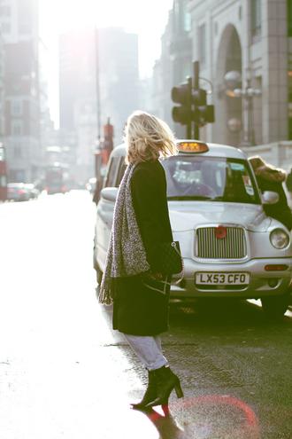 framboise fashion blogger scarf black coat