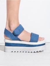 shoes,sandals,velcro,velcro straps,platform shoes,platform sandals,summer sandals,high heel sandals,cute,denim sandals,denim,pixie market,pixie market girl