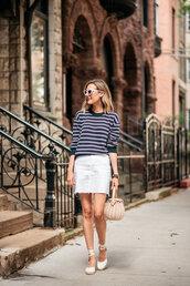 sweater,long sleeves,crewneck,striped sweater,espadrilles,bag,white shirt