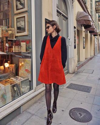 dress tumblr red dress mini dress top black top turtleneck tights boots black boots ankle boots sunglasses