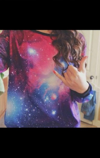 shirt galaxy print sweater