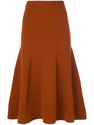 skirt midi skirt women midi spandex wool yellow orange