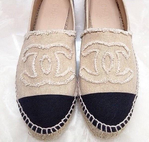 shoes beige black chanel espadrilles