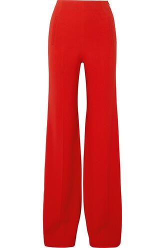 pants wide-leg pants red