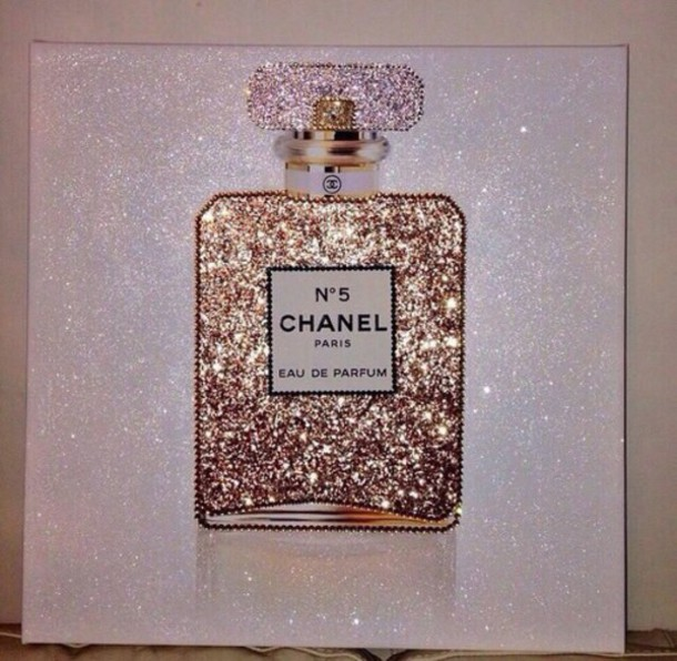 Home Accessory Chanel Painting Glitter Chanel No 5