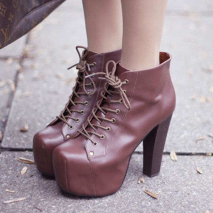 shoes boots high heels brown