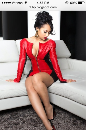 tammy rivera zip-up red dress