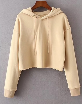 sweater girly nude beige crop tops crop cropped cropped sweater hoodie