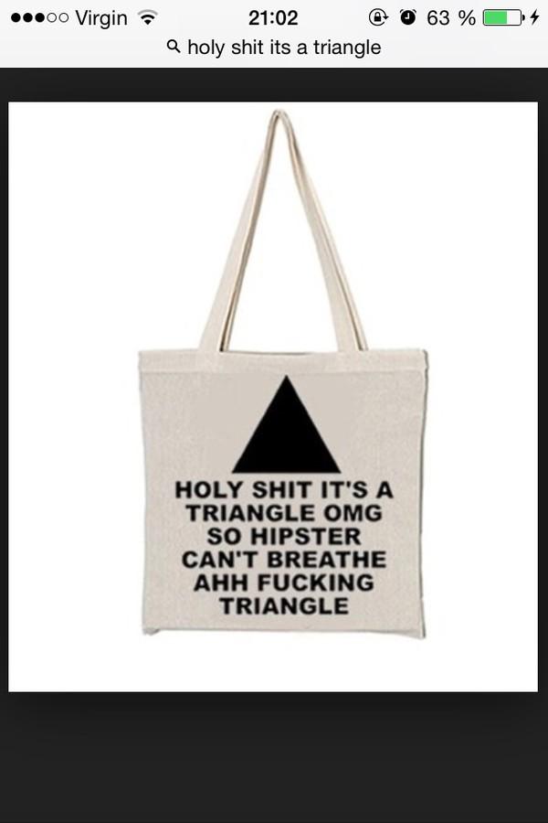 bag tote bag hipster bag triangle hipster