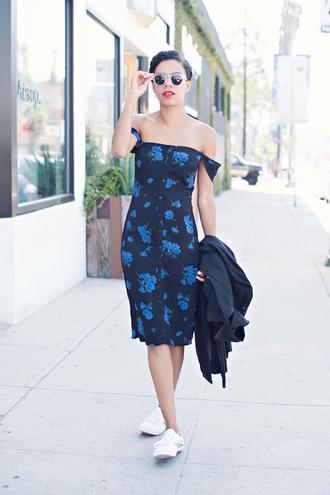 style me grasie blogger floral dress off the shoulder dress