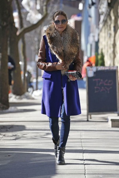 coat fur olivia palermo boots ankle boots shoes