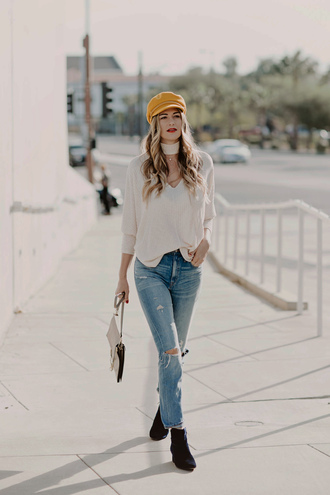 hat tumblr fisherman cap top white top choker top denim jeans blue jeans boots ankle boots