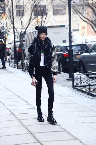 jacket nyfw 2017 fashion week 2017 fashion week streetstyle printed jacket bomber jacket scarf checkered denim jeans black jeans skinny jeans boots black boots flat boots beanie black beanie