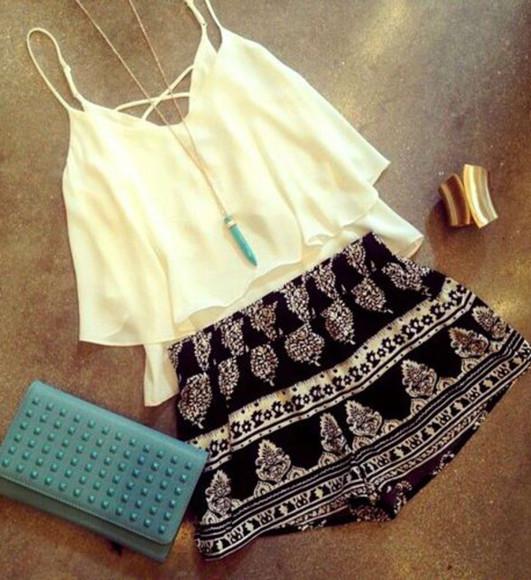 shorts blouse top aztec aztec short