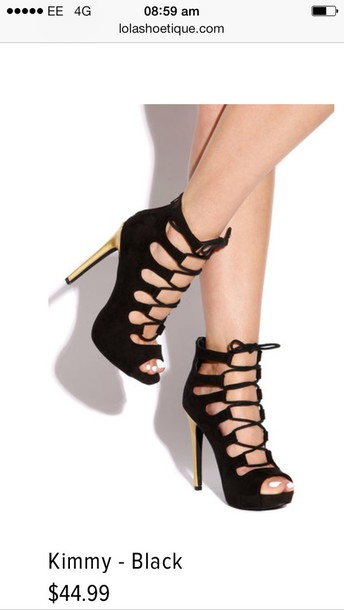 Black Lace Up Peep Toe Heels