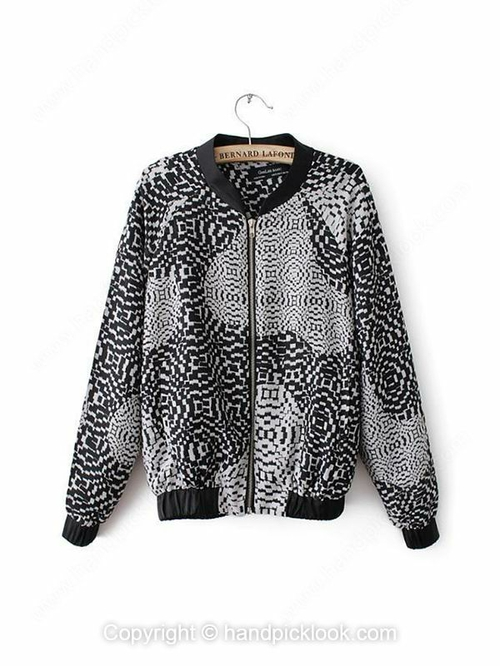 Black Long Sleeve Geometric Print Fashion Coat - HandpickLook.com