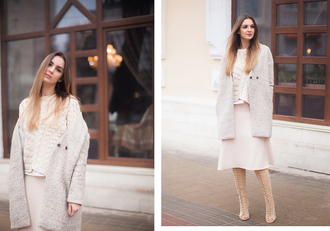 fashion agony blogger midi skirt winter outfits cable knit peep toe boots winter coat