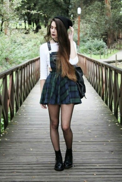 skirt tartan skirt suspenders skirt