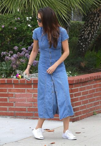 shoes sneakers denim dress midi dress denim selena gomez streetstyle spring outfits spring dress
