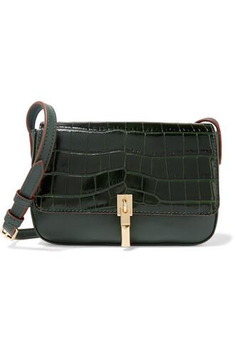 dark bag shoulder bag leather green