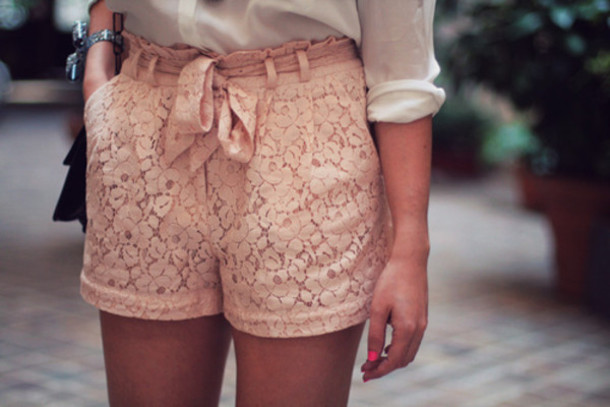 shorts lace pink high waisted cute pretty bow High waisted shorts pink shirt