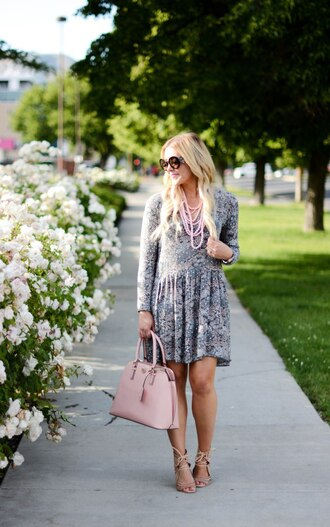 all dolled up blogger dress jewels sunglasses bag shoes long sleeve dress grey dress pink bag statement necklace lace up heels round sunglasses