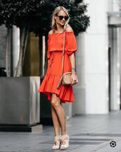 dress,bag,sunglasses,tumblr,orange,orange dress,off the shoulder,off the shoulder dress,midi dress,nude bag,sandals,sandal heels,shoes