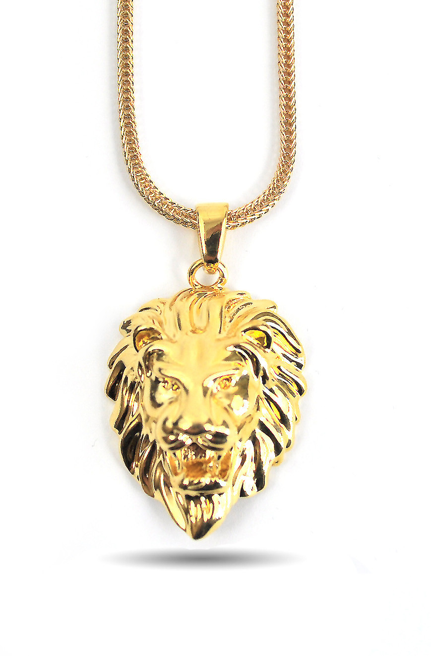 Gold Lion Head Necklace