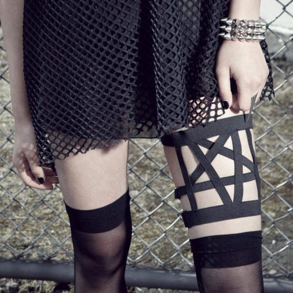 tights garter black pentagram pentagram garter spikes bracelets