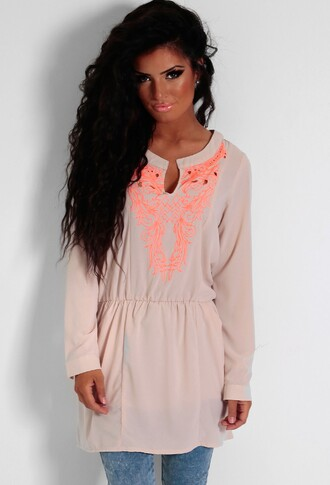 top nude neon orange kaftan