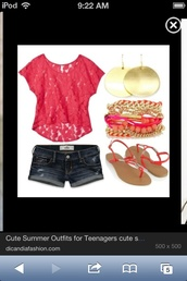 shoes,earings,clothes,lace,blouse,shirt,pink laces,denim shorts,sandals,earrrings,bracelets,best summer time outfit,pink lace top with denim shorts,pink lace,flat sandals,t-shirt,pretty pink summer,jewels,shorts,summer,pink,denim,short shorts,pretty,see through,red,top,floral,fuschia top,stacked jewelry,summer outfits,casual,gold,earrings,peach pink,stack bracelets,belt,jeans,las,scarf,baby_girl200,jacey penny