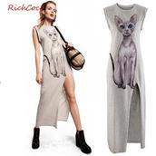 dress,cat print  dress,side slits dress,irregular dress,causal dress,knitted cardigan