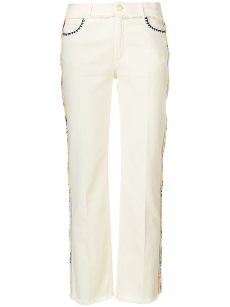 Etro - straight leg embroidered jeans - women - Cotton/Spandex/Elastane/Polyester - 28, Nude/Neutrals, Cotton/Spandex/Elastane/Polyester