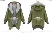 jacket,army green,hoodie,loose,coat,army green jacket,zip,grey coat,jumper,baggy