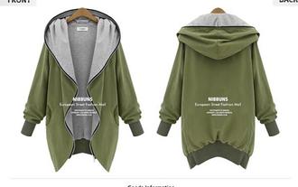 jacket army green hoodie loose