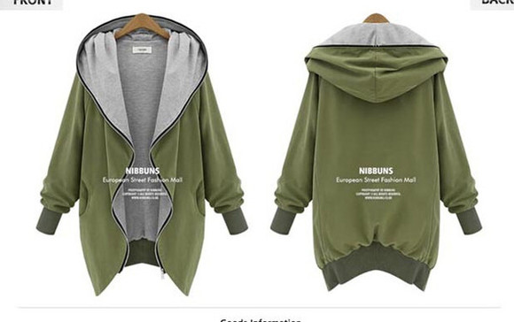 jacket army green hoodie loose