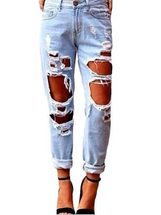 pants long retro jeans denim blue jeans ripped jeans high waisted jeans acid wash jeans skinny jeans women zipped pants