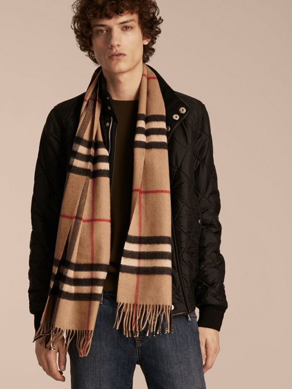 f2bbeb4234dcc The Classic Check Cashmere Scarf in Camel | Burberry