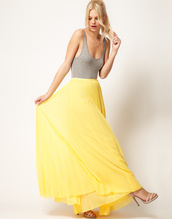 skirt,maxi,maxi skirt,mango,pleated skirt,yellow,yellow maxi skirt