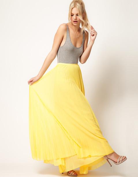 skirt maxi maxi skirt mango pleated skirt yellow yellow maxi skirt