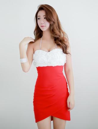 dress fashion girl ustrendy bqueen party sexy red white sleeveless halter neck bra-style strapless nightclub