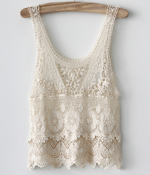 Cute White Crochet Lace Vest on Luulla