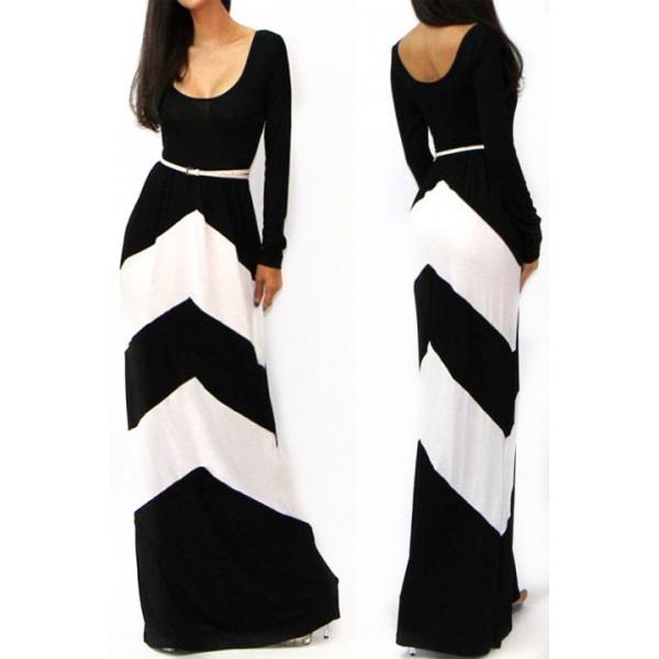 dress kcloth stripes zigzag slim fit dress maxi dress black white floor length