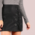 Faux Leather Laced Eyelet Mini Skirt BLACK -SheIn(Sheinside)