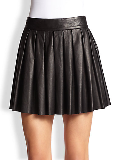 Alice   Olivia - Pleated Leather Skirt - Saks.com