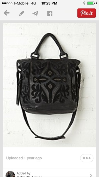 black bag leather tote bag velvet lazer cut