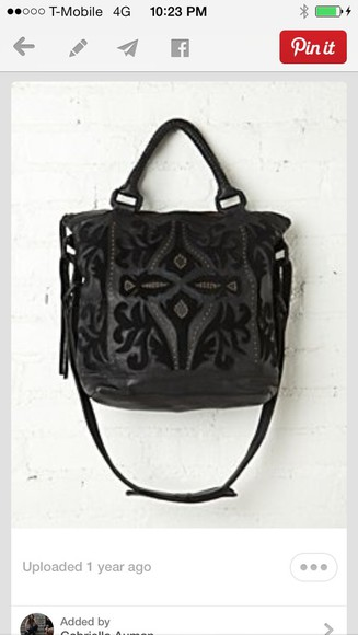 bag black tote bag leather velvet lazer cut