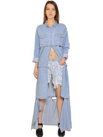 dress shirt dress denim layered cotton blue